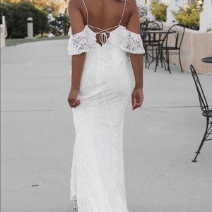 David's bridal cold shoulder lace wedding dress